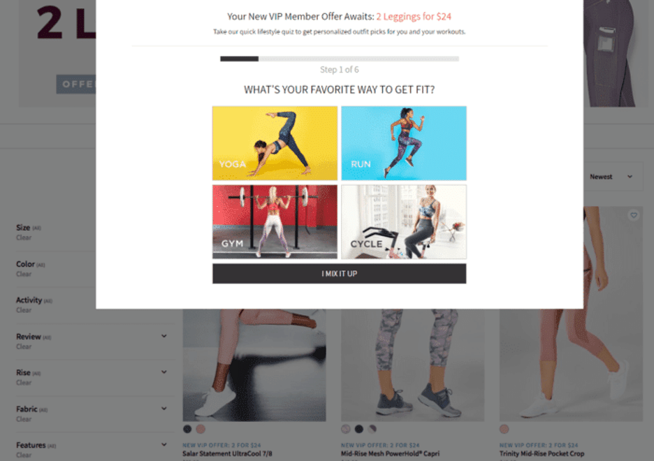 Fabletics' gamified quiz asks customers questions about their preferences.