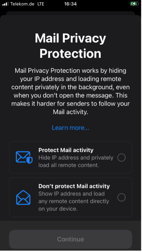 Mail Privacy Protection screenshot